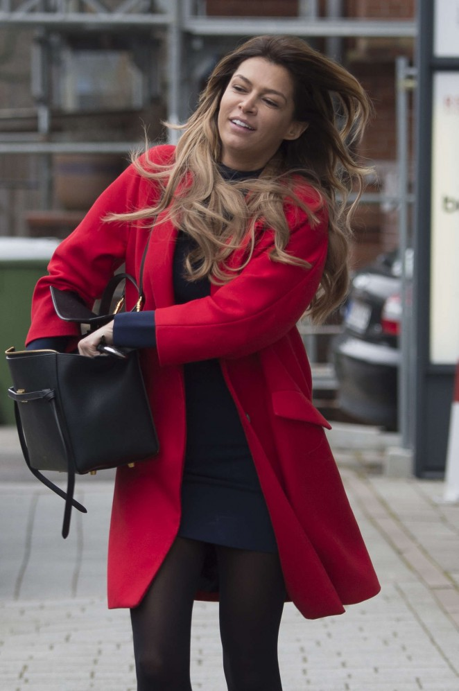Sabia Boulahrouz in Red Coat out in Hamburg