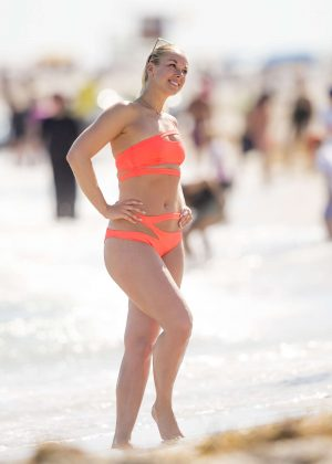 Sabine Lisicki in Orange Bikini on Miami Beach
