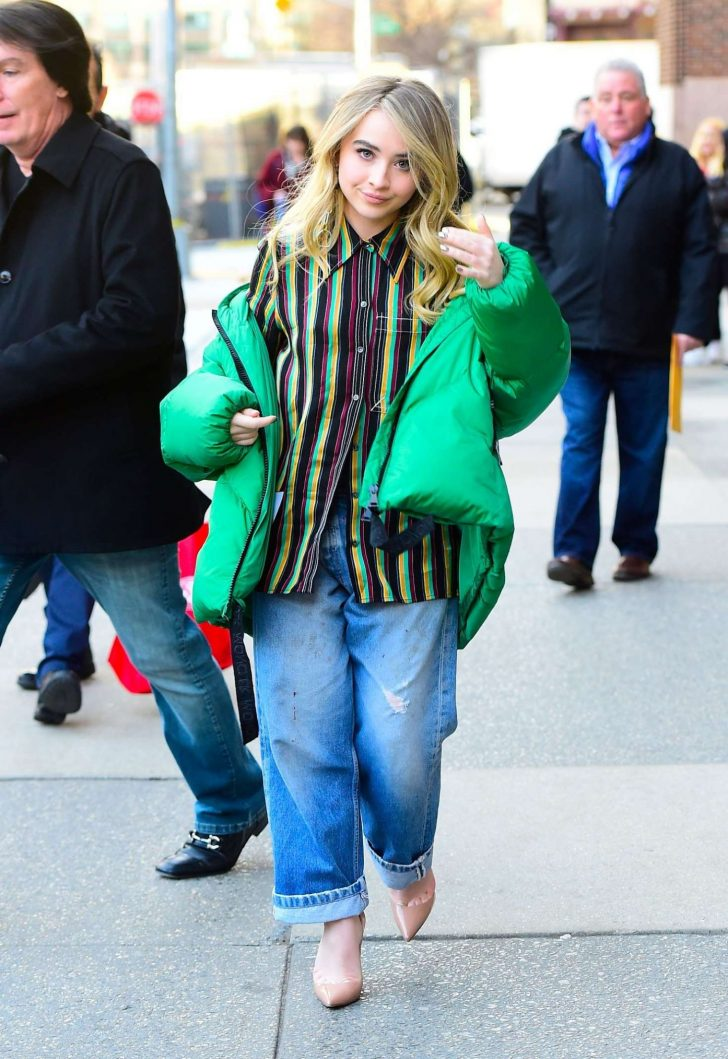 Sabrina Carpenter in Green Jacket - Out and about in NYC