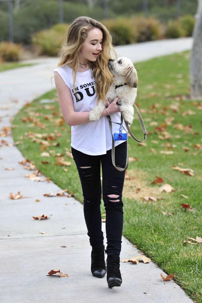 Sabrina Carpenter - Walking her dog in Burbank