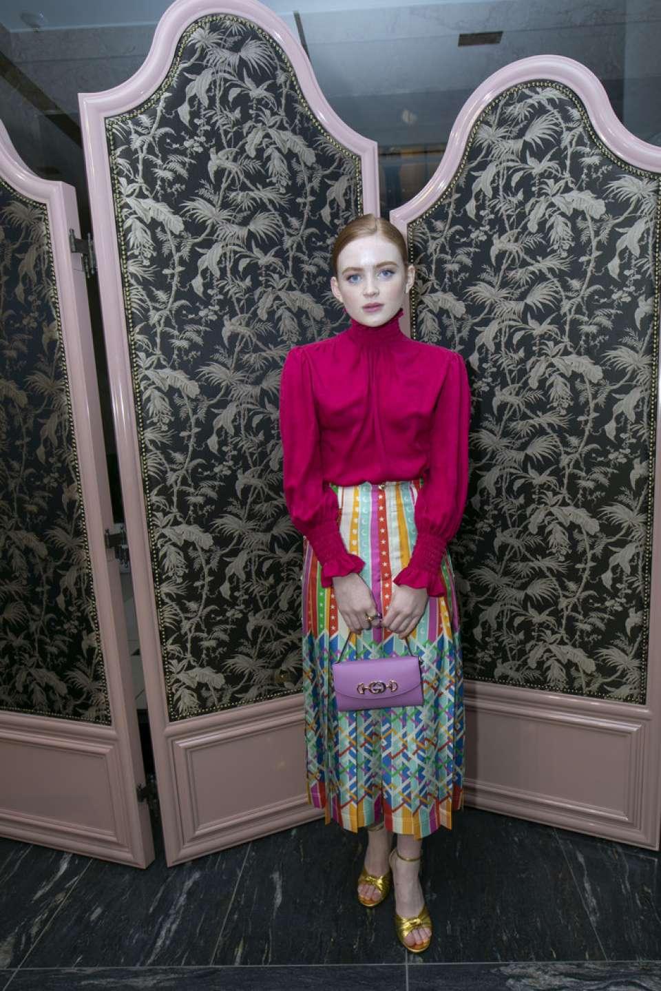 Sadie Sink - Gucci Zumi Handbag Collection in Chicago