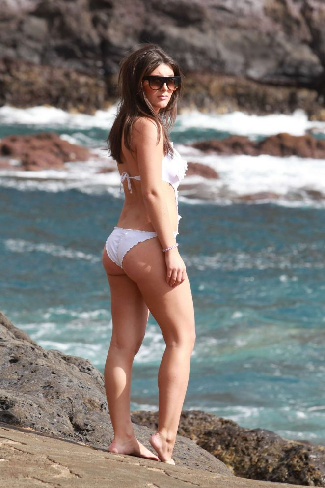 Sadie Stuart in White Swimsuit in Tenerife
