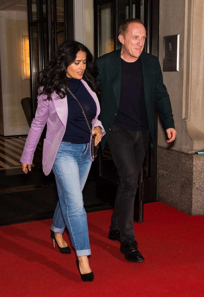 Salma Hayek and Francois-Henri Pinault - Leaving their hotel in New York