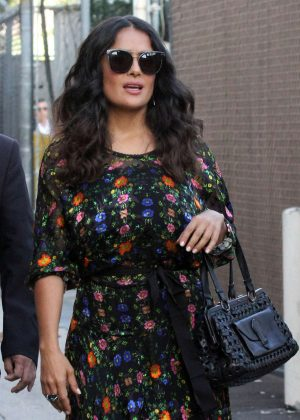 Salma Hayek - Arrives at 'Jimmy Kimmel Live' in Los Angeles