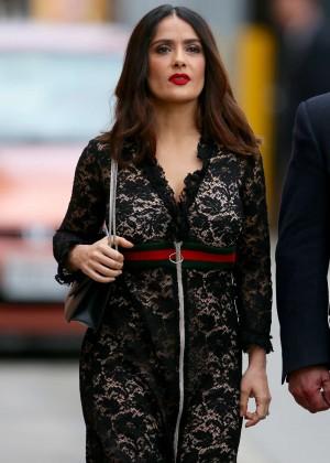 Salma Hayek - Arriving at 'Jimmy Kimmel Live' in LA