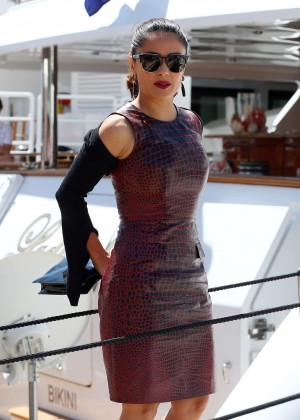 Salma Hayek in Tight Dress Arriving for a boat party in Cannes