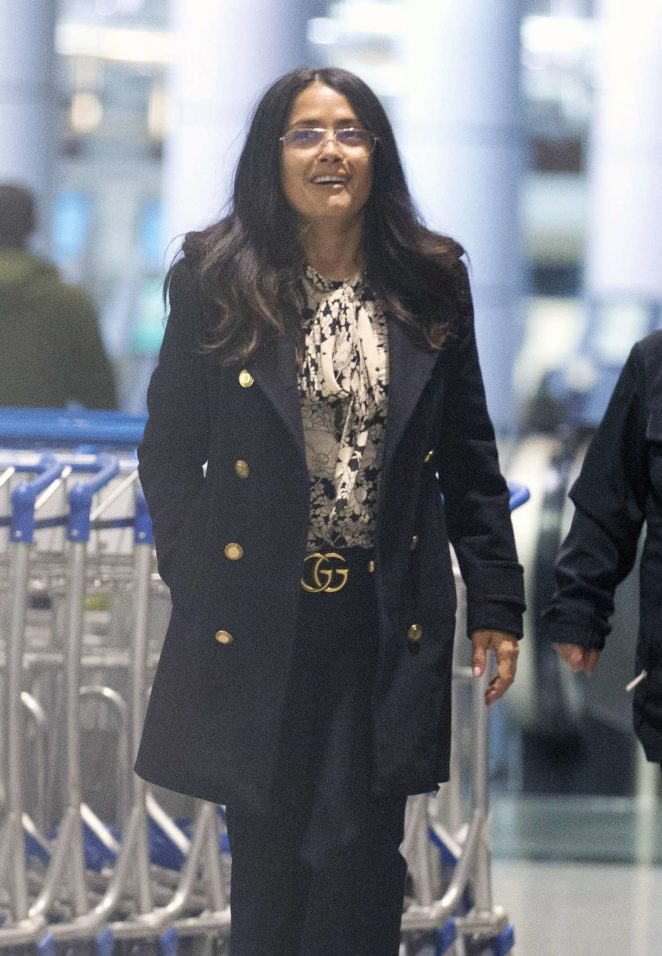Salma Hayek at a Airport in Montreal