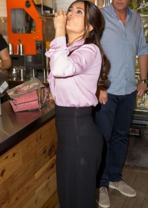 Salma Hayek at a juice bar in NY