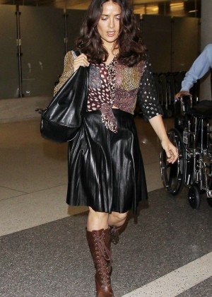 Salma Hayek in Leather Skirt at LAX Airport in LA