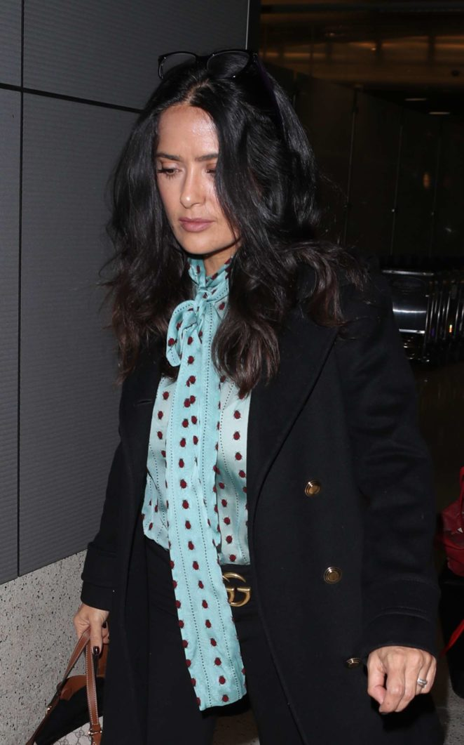 Salma Hayek at LAX International Airport in Los Angeles
