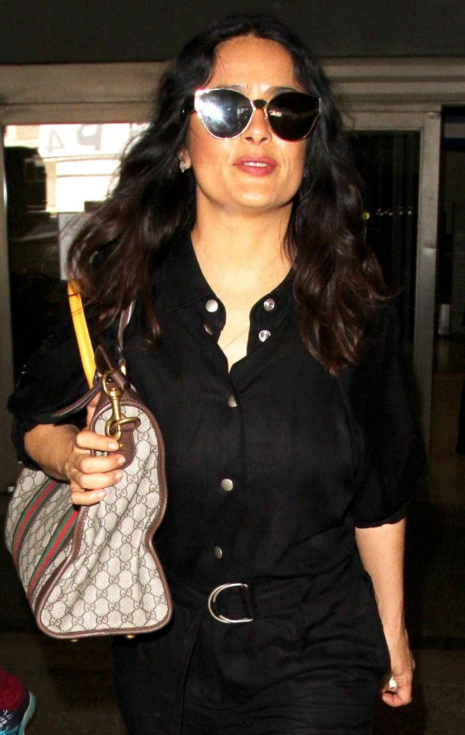 Salma Hayek in Black at LAX Airport in Los Angeles