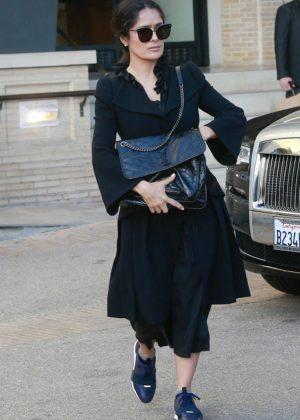 Salma Hayek in Black Dress - Shopping at Barneys New York in LA