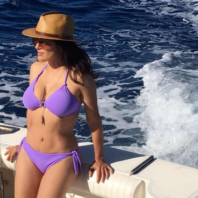 Salma Hayek in Purple Bikini – Personal