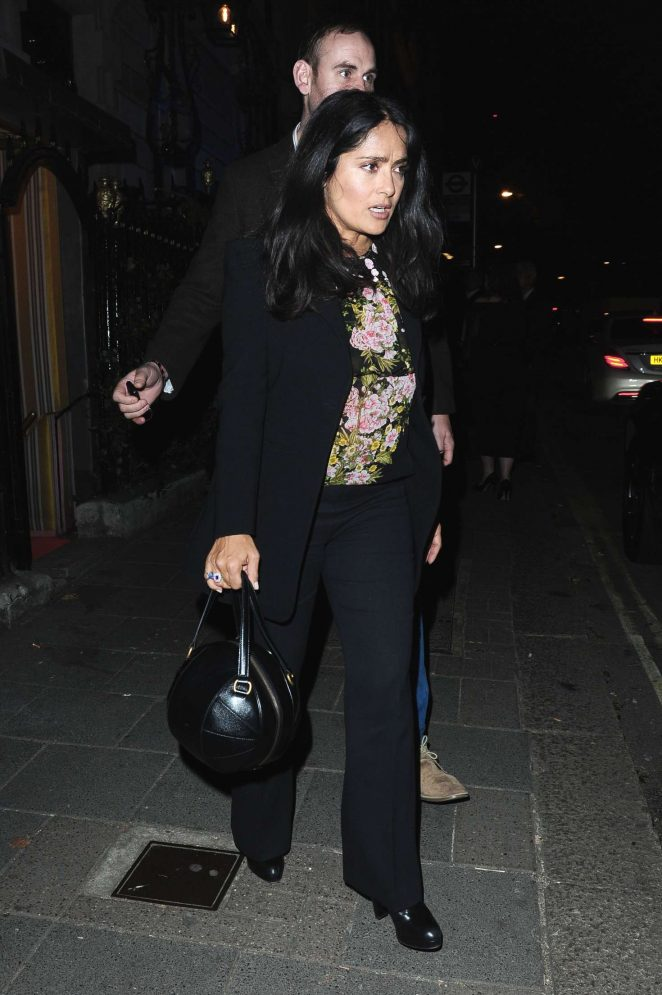 Salma Hayek - Leaves Annabel's Club in Mayfair
