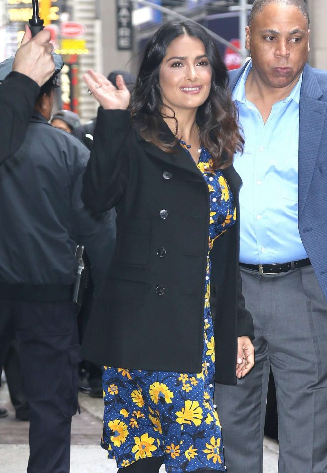 Salma Hayek Leaves Good Morning America in New York