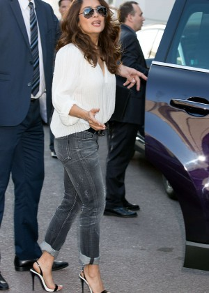 Salma Hayek - Leaving Le Grand Palais during 68th Cannes Film Festival