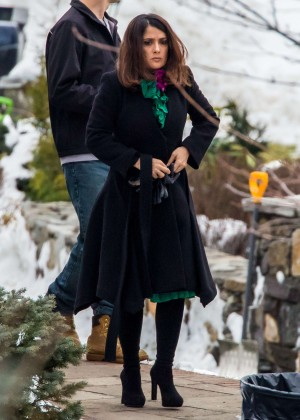 Salma Hayek on set of 'Drunk Parents' in New York