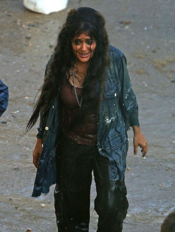 Salma Hayek - On the set of Sci-Fi Thriller 'Bliss' in Los Angeles