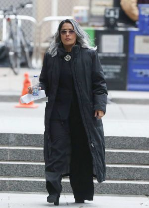 Salma Hayek - On the set of 'The Hummingbird Project' in Toronto
