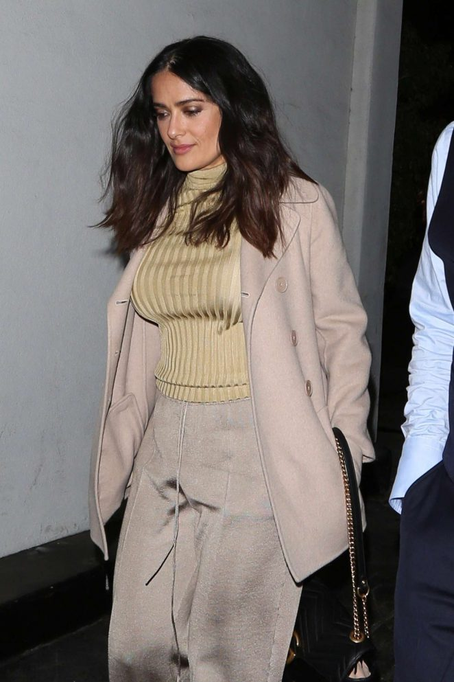Salma Hayek out for dinner at E Baldi in Beverly Hills