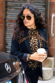 Salma Hayek - Seen in windy New York