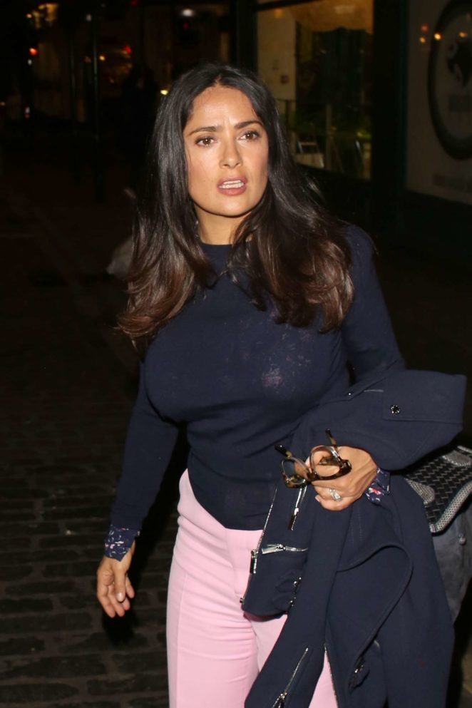 Salma Hayek - Seen leaving The Apollo Theatre in London
