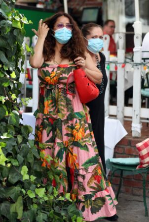 Salma Hayek - Wearing a maxi floral summer dress while leaving the Ivy in Beverly Hills