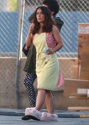 Salma Hayek Wearing piggy slippers in San Fernando