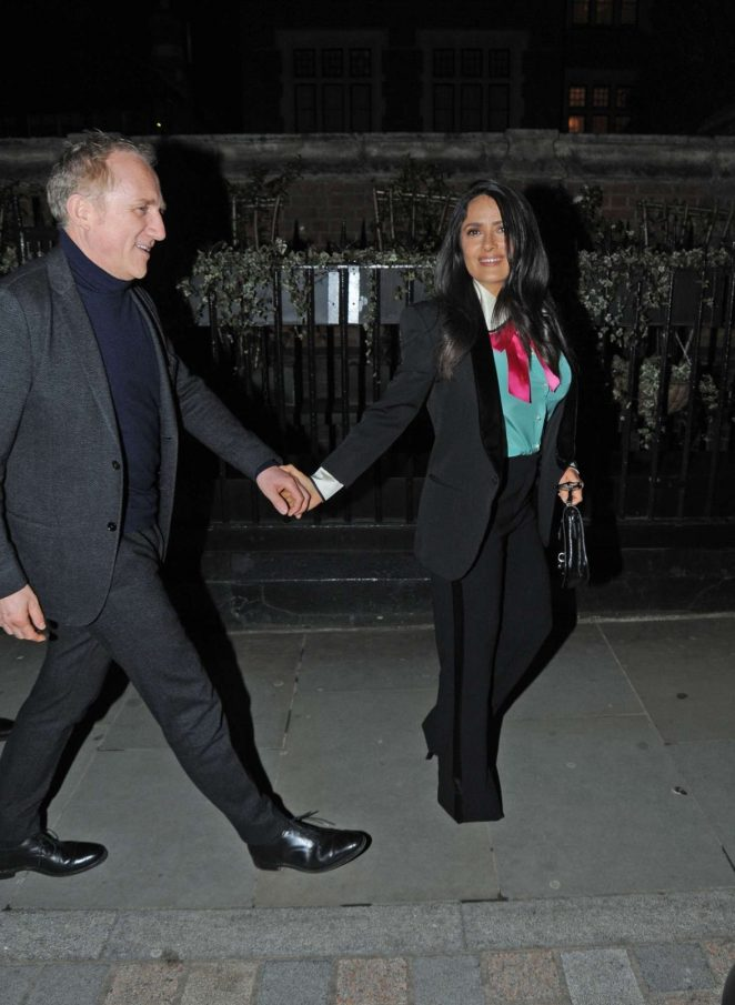 Salma Hayek with her husband at Chiltern Firehouse in London