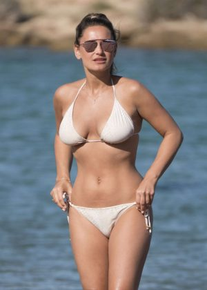 Sam Faiers in White Bikini in Sardinia