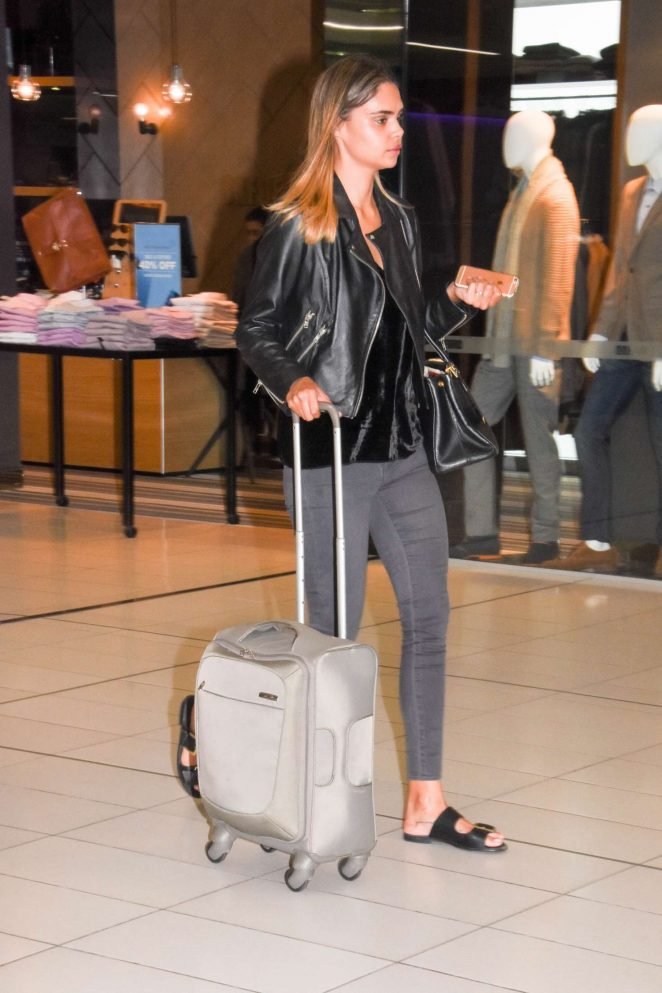 Samantha Harris at airport in Melbourne -01
