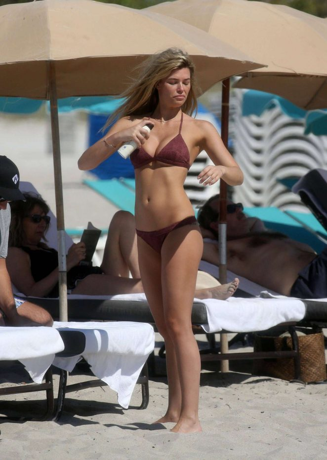Samantha Hoopes in Bikini at a beach in Miami