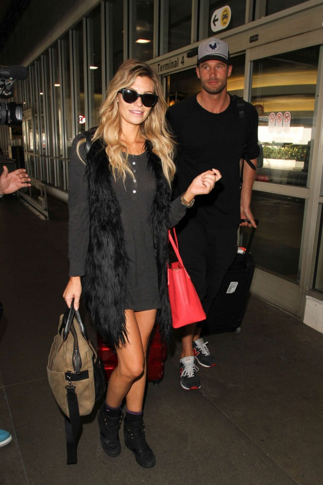 Samantha Hoopes in Mini Dress at LAX Airport in Los Angeles