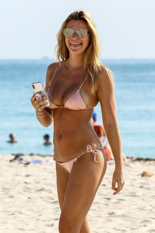 Samantha Hoopes in Pink Bikini on the beach in Miami