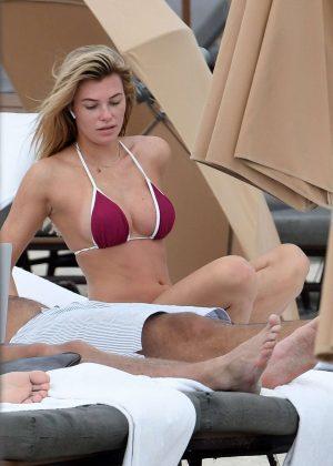 Samantha Hoopes in Red Bikini on the Beach in Miami