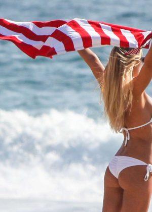 8bf9a96151 Samantha Hoopes in White Bikini on the beach in Malibu