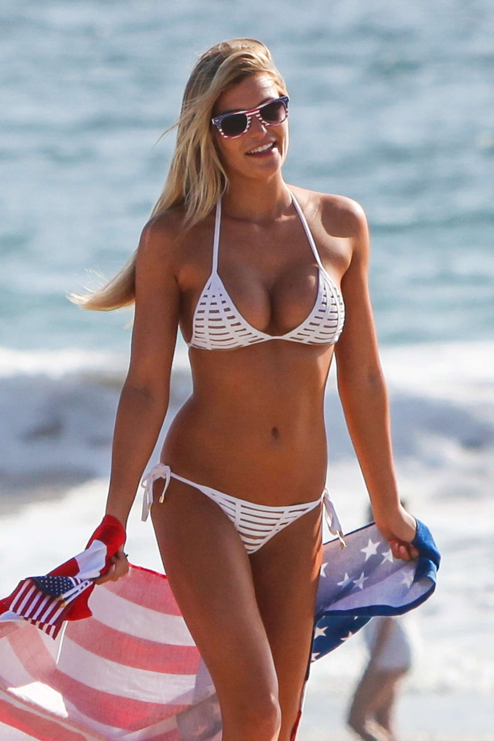 Samantha Hoopes in White Bikini on the beach in Malibu