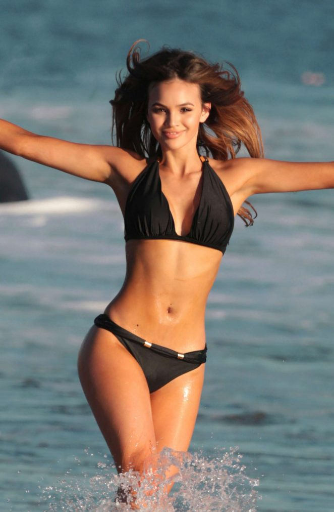 Sammy Mitchell in Black Bikini on the beach in Los Angeles