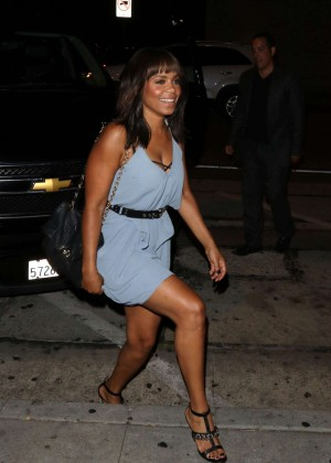 Sanaa Lathan in Blue Mini Dress at Craig's Restaurant
