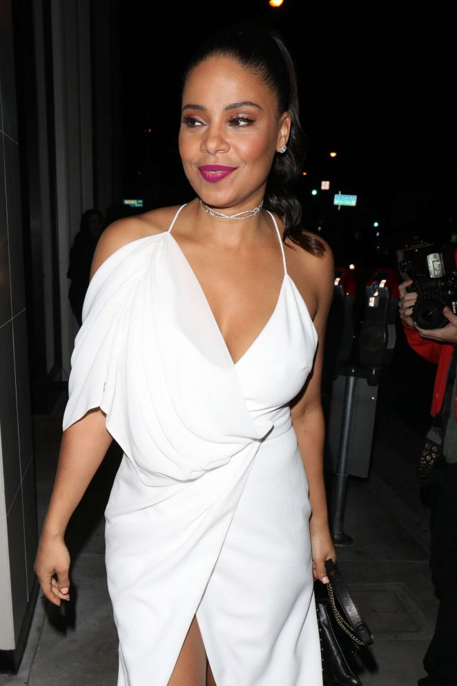 Sanaa Lathan in White Dress at Catch LA in West Hollywood