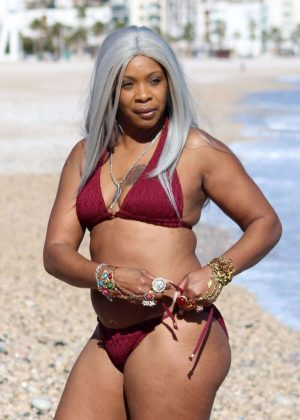 Sandi Bogle in Red Bikini on the beach in Benidorm