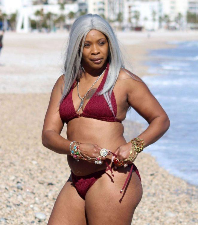 Sandi Bogle in Red Bikini on the beach in Benidorm