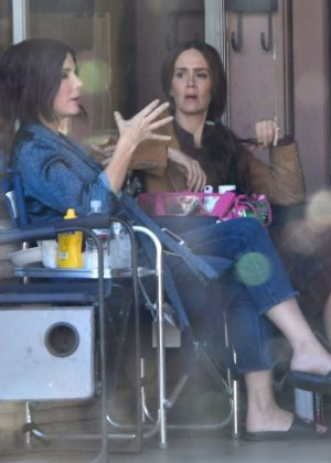 Sandra Bullock and Sarah Paulson - On set of 'Bird Box' in Los Angeles