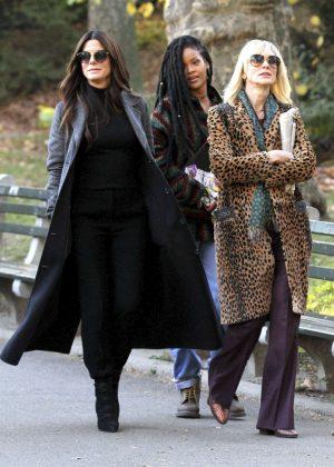 Sandra Bullock, Cate Blanchett and Rihanna on 'Ocean's Eight' set in New York City