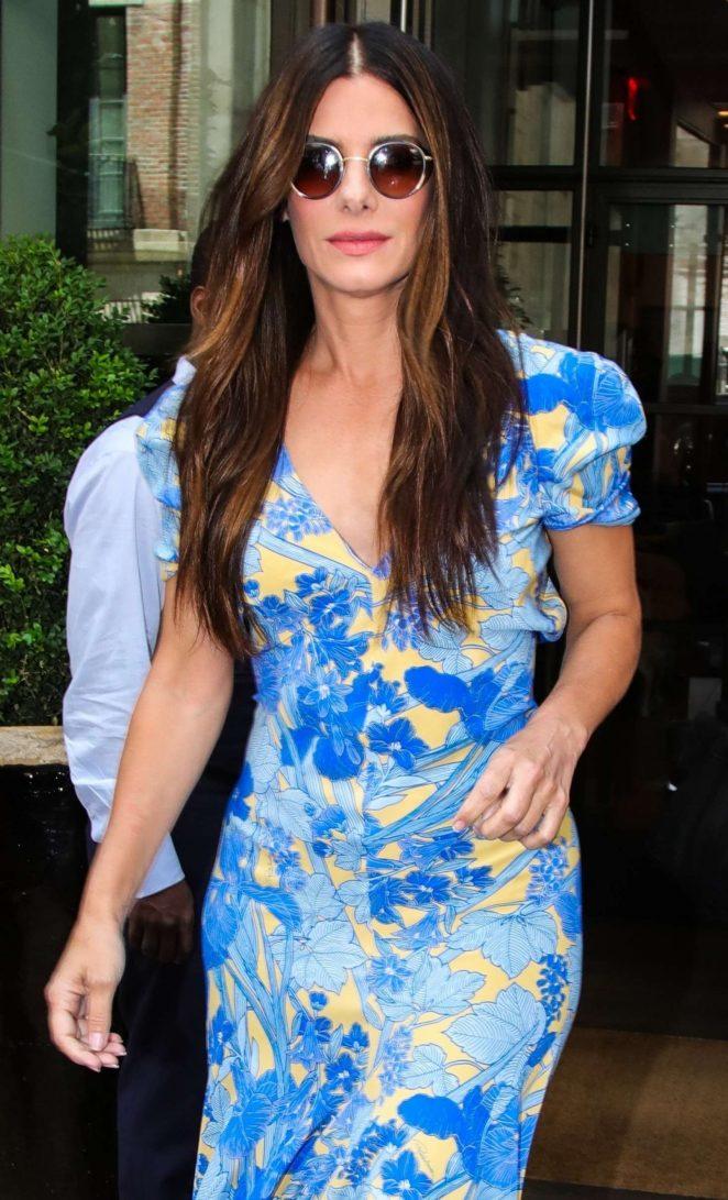 Sandra Bullock in Blue Floral Dress - Leaving her hotel in New York
