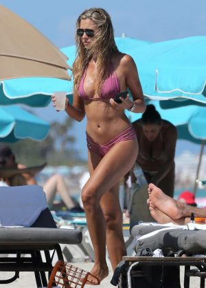Sandra Kubicka in Pink Bikini at the beach in Miami