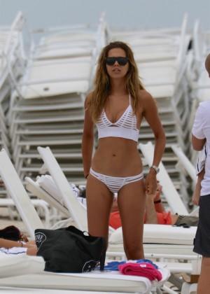 Sandra Kubicka in White Bikini at the beach in Miami