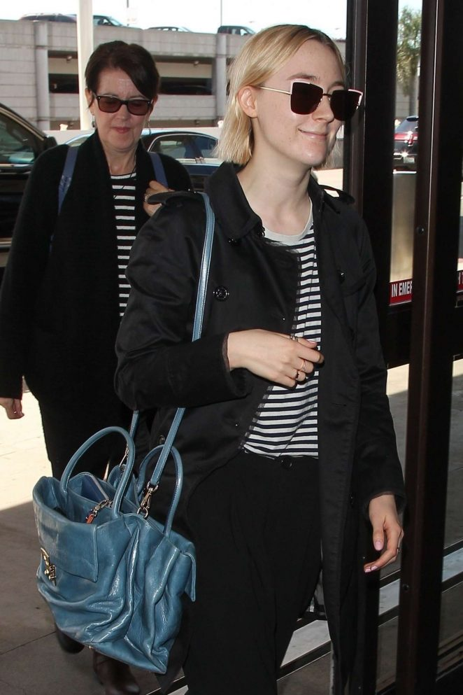 Saoirse Ronan at LAX Airport with her mother in Los Angeles