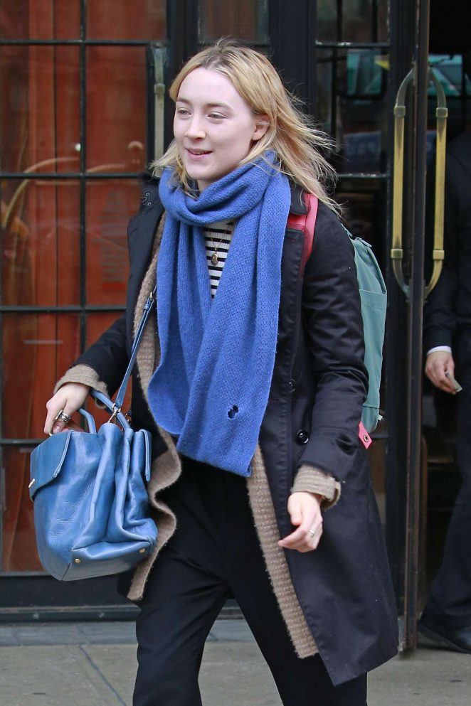 Saoirse Ronan out of the Bowery Hotel in New York City