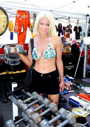 Sara Barrett in Bikini Top at Foothill Swap meet in Glendora